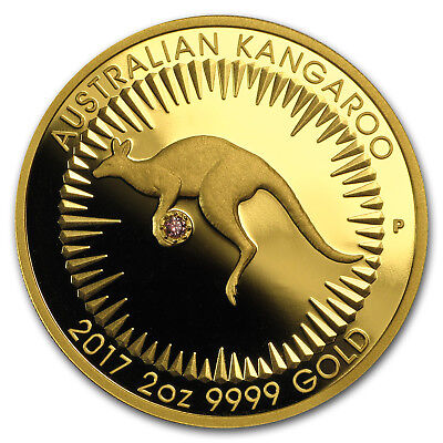 2017 Australia 2 oz Gold Proof Kangaroo Pink Diamond Edition