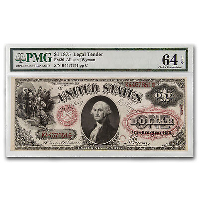 1875 $1.00 Legal Tender George Washington CU-64 EPQ PMG