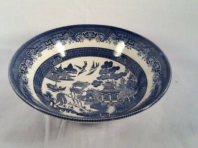 """Vintage Churchill Blue Willow Round Serving Bowl 9.25""""  New """"pristine Condition"""""""