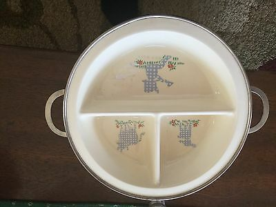 Vintage Ceramic Baby Child's Divided Serving Dish Plate Warming