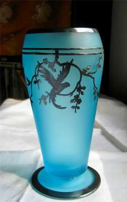 antique Art Deco TIFFIN Glass BLUE Dahlia VASE STERLING OVERLAY PARROT Fab Minty