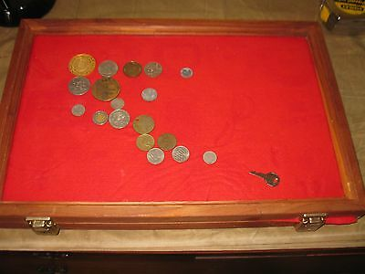 12 x18 x 2 wood Display Case with Tokens & Coin Collection Estate find