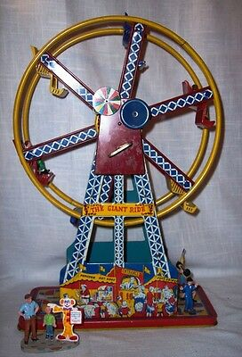 "Vintage ""The Giant Ride"" Ferris Wheel Wind-up Tin Toy by Ohio Art w People/Works"