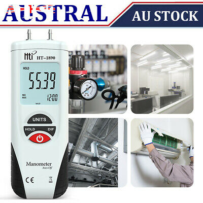 Digital Manometer Differential Gauge Air Pressure Meter Data Hold 11 Units H7E7