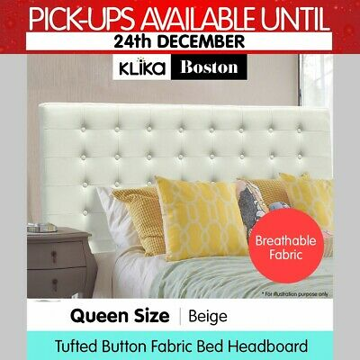 Queen Linen Fabric Bed Frame Headboard Head bed Wood Upholstered Tufted - Beige