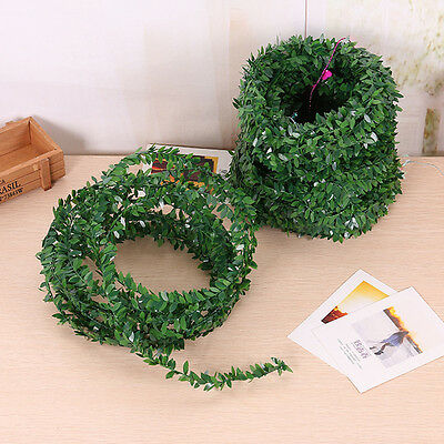 3.75M Garland Green Leaf Iron Wire Artificial Flower Vine Rattan For Wedding Fad