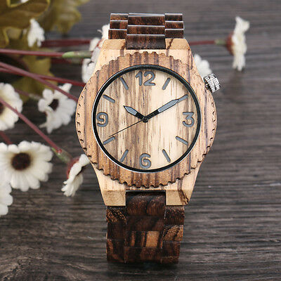 Luxury Men's Women's Bamboo Wood Watch Quartz Leather Wristwatches Fashion w/Box