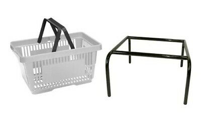 Grey Plastic Shopping Baskets Pack of 20 with free Black Stacker 20 Ltr