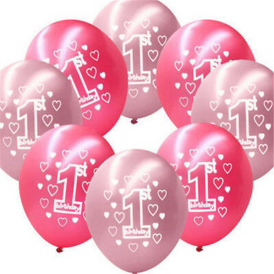 """10pc Pink Girl's Blue Boy 1st Birthday Party 11"""" Pearlised Latex Printed Balloon"""