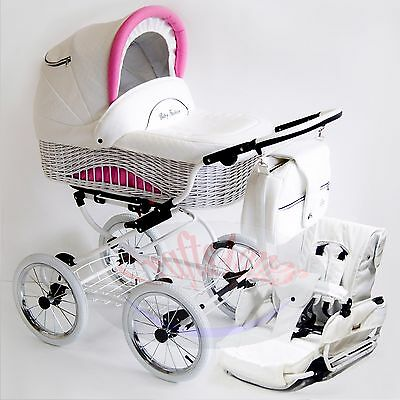 Wicker Retro Classic Pram Stroller Pushchair Baby 2in1 Travel System eco-leather