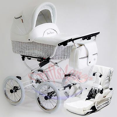 WhiteWicker Retro Classic Pram Stroller Pushchair Baby Travel System eco-leather