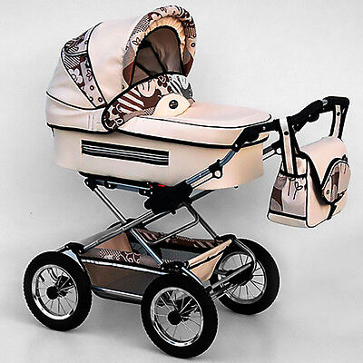 Classic Pram 12 Stroller Pushchair for Baby 2 in 1 Travel System Pumped Wheels
