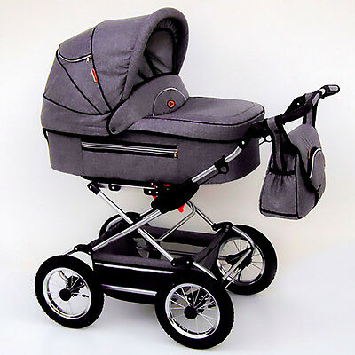 Classic Pram 14 Stroller Pushchair for Baby 2 in 1 Travel System Pumped Wheels