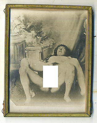 RARE RISQUE FRENCH NUD 1/4 PLATE  ALBUMIN  photo  c1890 EROTIQUE