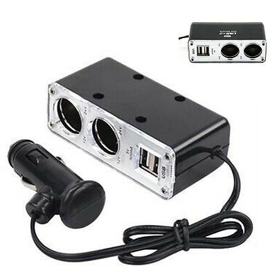 12v 2 Way Car Cigarette Lighter Power Socket Charger Adapter Dual USB Port Twin