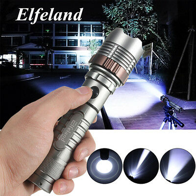 Elfeland 20000LM Torcia Militare T6 LED Ricaricabile Zoomable Flashlight Torch