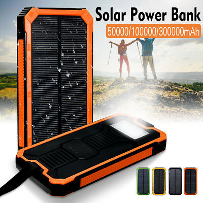 Waterproof Portable 50000/100000/300000mAh Solar Power Bank USB Battery Charger