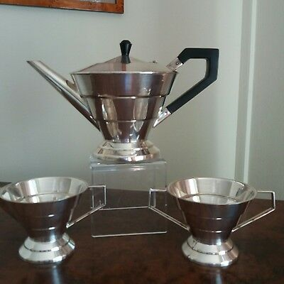 Art deco stylish silver plated stepped tea set