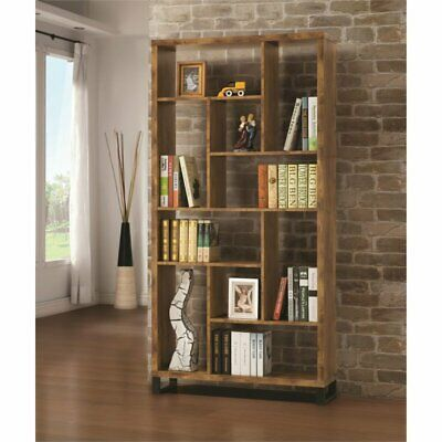 Coaster Modern Bookcase in Antique Nutmeg and Black