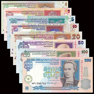 Ukraine 8 PCS Set,1,2,5,10,20,50,100,200 UNC