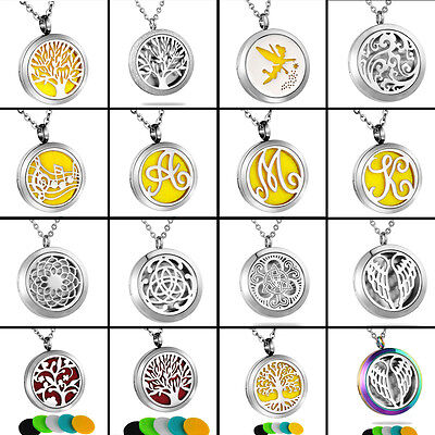 Hot Diffuser Locket Pendant Aromatherapy Essential Oil Perfume Necklace Gift
