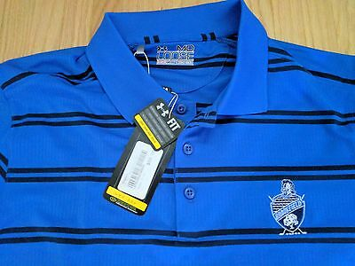 new with tags NWT men's Under Armour blue striped heat gear loose fit golf shirt