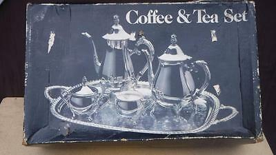Vintage Leonard SilverPlated Coffee and Tea Set Tray Sugar Creamer Silver Plated