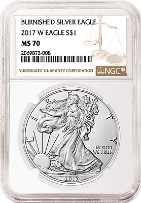 2017 W NGC MS70 BURNISHED SILVER EAGLE MS 70 Brown Label LIVE