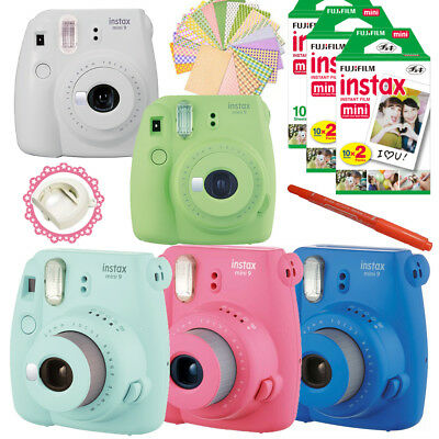 Fujifilm Instax Mini 9 Camera + 50 Photos Fuji Instant 8 Film+ Free Stickers Pen