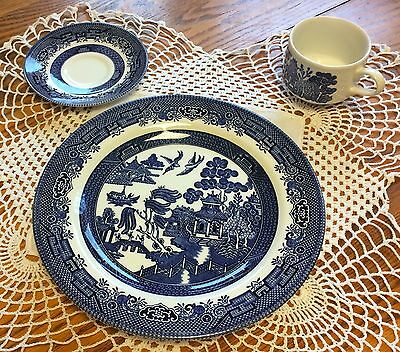 Churchill Blue Willow 3pc set; dinner plate, cup, saucer, NEW in original box!!!