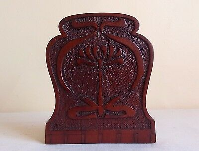 Antique Arts & Crafts Wood Bookend Holder Mission Carved (Single)