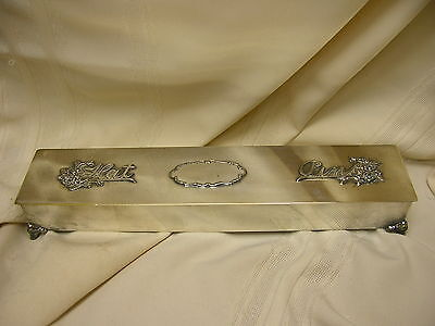 """Vtg Hat Pin Box with Hinged Lid Silver Plate Ornate Flower Design 12 1/4"""" Long"""
