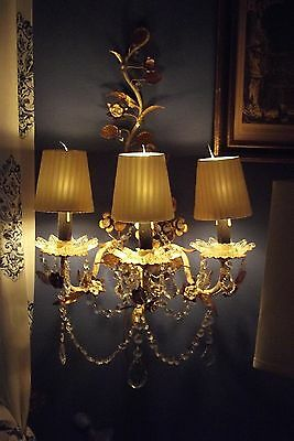 VTG TOLE French-Italian Crystals 3 lite Chandelier Sconce Wall & FREE Shades
