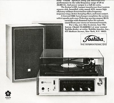 1969 Toshiba's The Sutton Stereo System Advertisement
