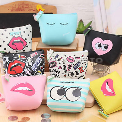 Mini Womens PU Zipper Wallet Coin Purse Key Pouch Small Cosmetic Makeup Bag