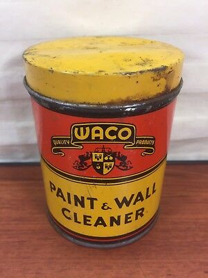 Vintage 1930's 1940's Waco Paint & Wall Cleaner Advertising Collectible Tin Can