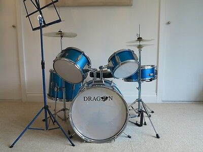 Dragon Junior Drum Kit 7 piece + Drum Stool and Music Stand. Very good used cond