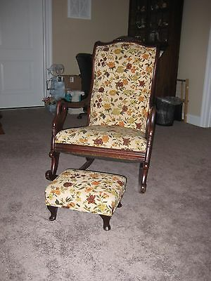 Antique Goose Neck Rocker with Matching Foot Stool