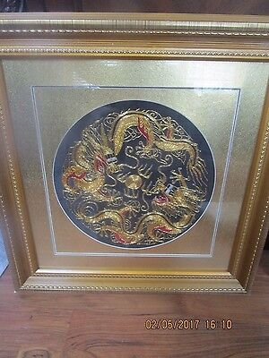 Vintage Asian Silk Embroidery Framed Wall Textile Decor Gold Dragons  Framed