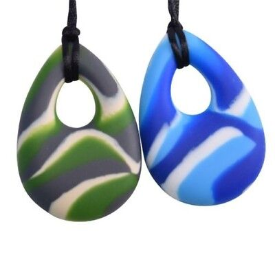 Oval Chewy Necklace SEN Autism ADHD Stop Biting Sensory Safety Clasp - 14 Colour
