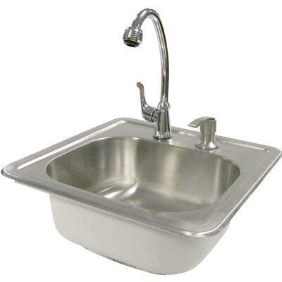CalFlame Outdoor Stainless Steel Sink with Faucet and Soap Dispenser