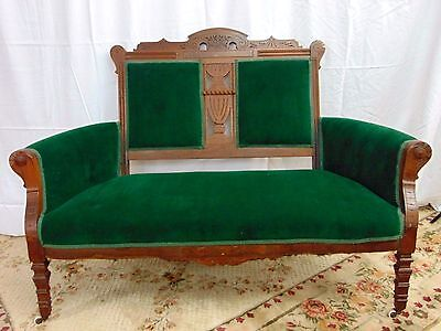 Stunning Green Eastlake Settee Antique Victorian Love Seat Parlor Bench