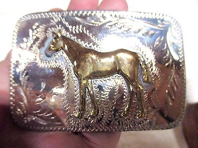 NEW OLD STORE STOCK ~Horse~ Hand Made & Engraved in WYO Belt Buckle MAKE OFFER