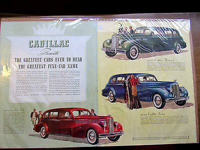 Vintage 1937 Cadillac Fleetwood Lg Double Page Collector Car Ad Original Magazne