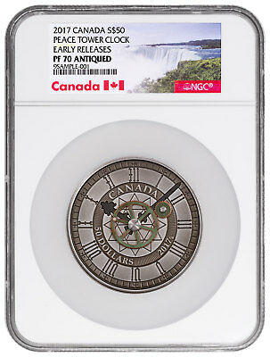 2017 Canada Peace Tower Clock 90th 5 oz Silver Antiqued $50 NGC PF70 ER SKU48368