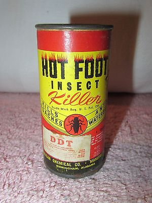 """Vintage HOT FOOT INSECT KILLER Advertising Cardboard Can - 3"""" tall"""