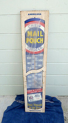 Vintage Mail Pouch Tobacco Advertising Thermometer Sign still in box NOS?