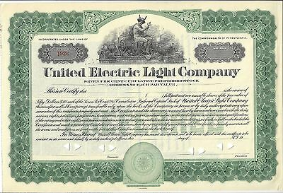 United Electric Light Company......unissued Stock Certificate