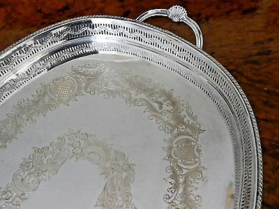 Large Vintage Silver Plate Gallery Tray with Two Handles and Good Chasing