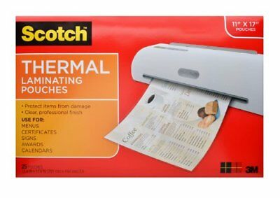 Scotch Thermal Laminating Pouches 11.45 x 17.48in 25-Pouches TP3856-25, New